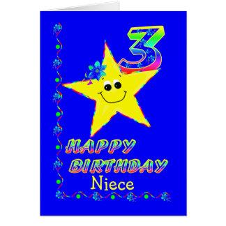Estrelas do aniversário de 3 anos da sobrinha cartoes