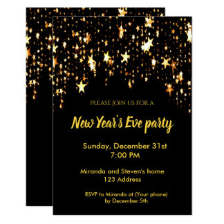 Estrelas do cartão do convite do preto do partido