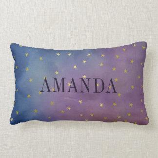 Estrelas do ouro & aguarela roxa - adicione seu almofada lombar
