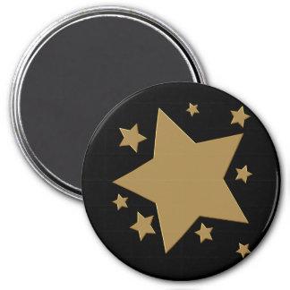 Estrelas do ouro ímã redondo 7.62cm