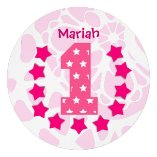 Estrelas do rosa do primeiro aniversario do bebê e convites personalizado