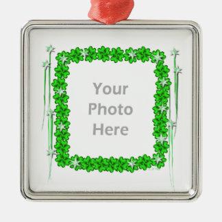 Estrelas do trevo do dia do St. Patricks (quadro Ornamento Quadrado Cor Prata