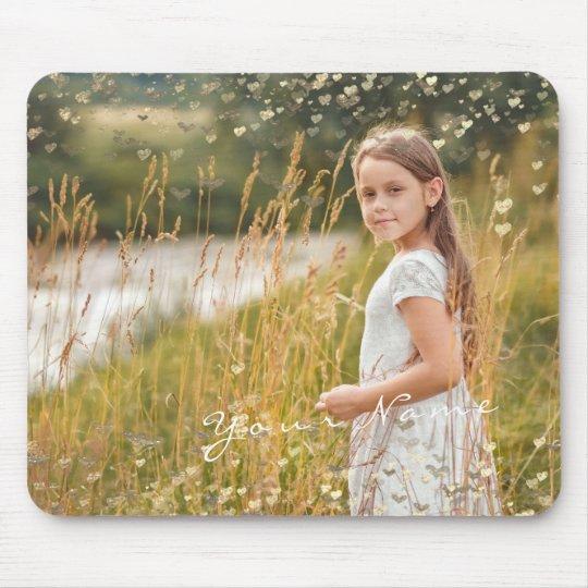 Estrelas douradas dos confetes da foto nova da mouse pad
