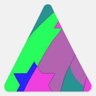 estrelas e arco-íris dos corações adesivo triangular