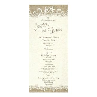 Estrelas e programa do casamento de praia de 10.16 x 22.86cm panfleto