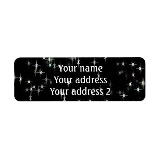 Estrelas pastel coloridos/fundo preto etiqueta endereço de retorno