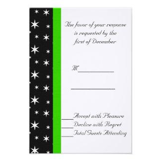 Estrelas pretas brancas e verdes que Wedding o c Convites Personalizado