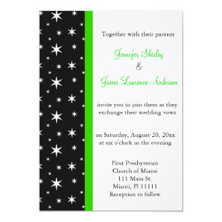 Estrelas pretas, brancas e verdes que Wedding o Convite 12.7 X 17.78cm