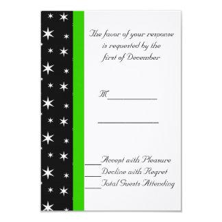 Estrelas pretas, brancas, e verdes que Wedding o Convite 8.89 X 12.7cm