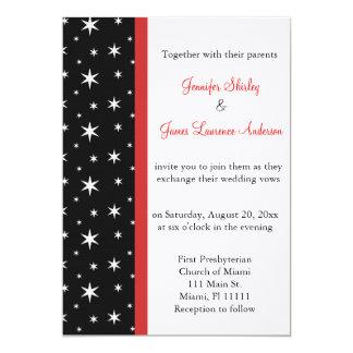 Estrelas pretas, brancas e vermelhas que Wedding o Convite 12.7 X 17.78cm