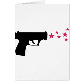 estrelas pretas da pistola da estrela da arma cartão