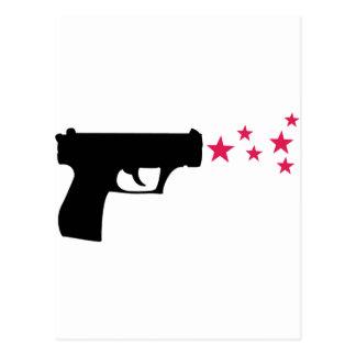 estrelas pretas da pistola da estrela da arma cartoes postais
