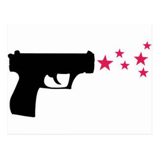 estrelas pretas da pistola da estrela da arma cartão postal