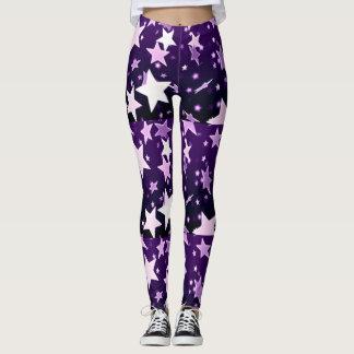 Estrelas roxas leggings