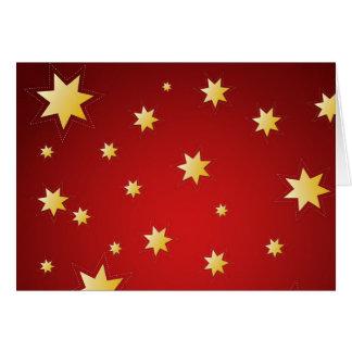 Estrelas sparkling do Natal no vermelho Cartão Comemorativo