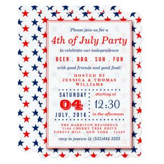 Estrelas vermelhas, brancas & azuis 4ns do partido convite 12.7 x 17.78cm