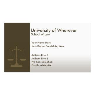 estudante de Direito profissional de justiça Cartões De Visitas