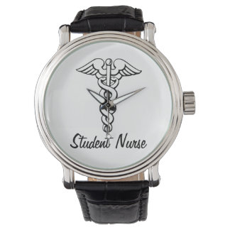 Estudante médico dos cuidados do símbolo do relógio