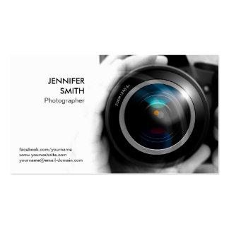 Estúdio da objectiva do jornalista fotográfico do  cartões de visita