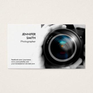 Estúdio da objectiva do jornalista fotográfico do cartão de visitas