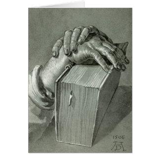 Estudo da mão de Albrecht Dürer com bíblia Cartão Comemorativo