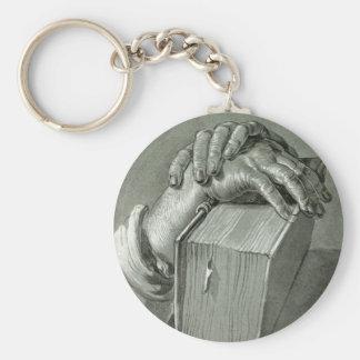 Estudo da mão de Albrecht Dürer com bíblia Chaveiro