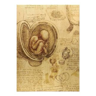 Estudo do feto do bebê por Leonardo da Vinci Convite