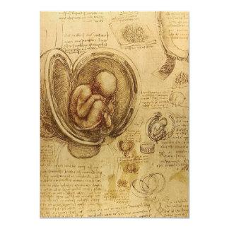 Estudo do feto do bebê por Leonardo da Vinci Convite 11.30 X 15.87cm