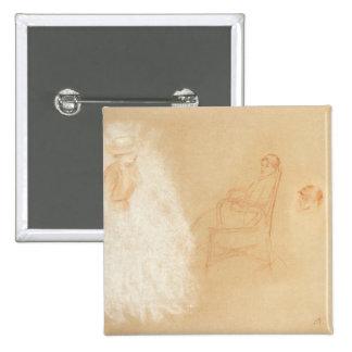 Estudos das mulheres (giz no papel) bóton quadrado 5.08cm