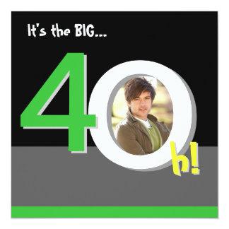Esverdeie 40th 4-Oh grande! Festa de aniversário Convite Quadrado 13.35 X 13.35cm