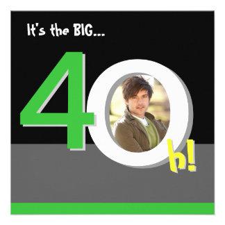 Esverdeie 40th 4-Oh grande Festa de aniversário d Convites Personalizados