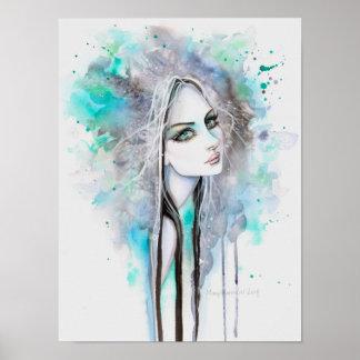 Esverdeie o fantasma Eyed 12 x retrato abstrato da Poster
