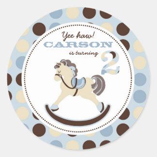 Etiqueta 2 do cavalo de balanço adesivos em formato redondos