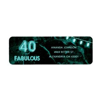Etiqueta 40 & cerceta fabulosa & aniversário de 40 anos