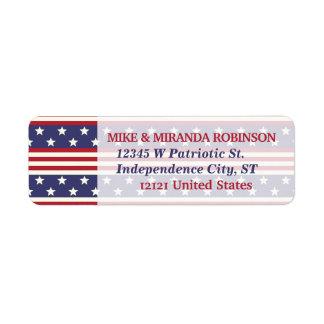 Etiqueta 4o da bandeira patriótica dos EUA da bandeira dos