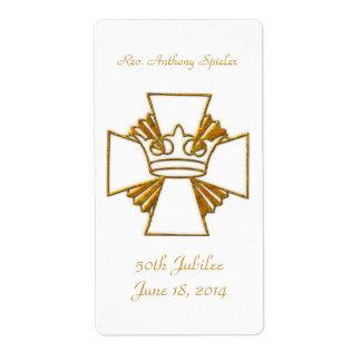 Etiqueta 50th Aniversário dourado da classificação do padre