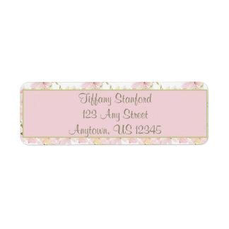 Etiqueta A aguarela cor-de-rosa e verde floresce |