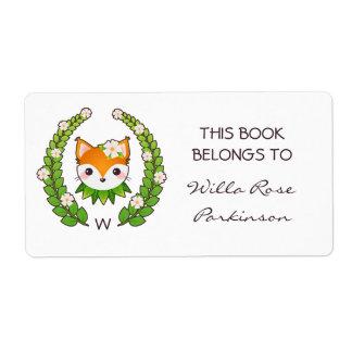 Etiqueta A grinalda floral do Fox este livro pertence a