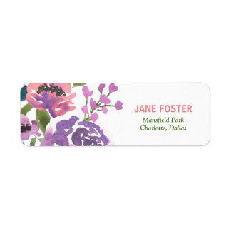 Etiqueta A lavanda cor-de-rosa da aguarela floresce o