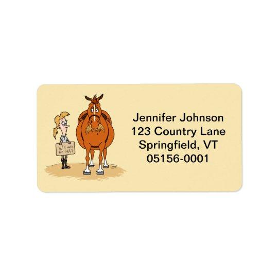 Etiqueta A mulher gorda engraçada do cavalo dos desenhos