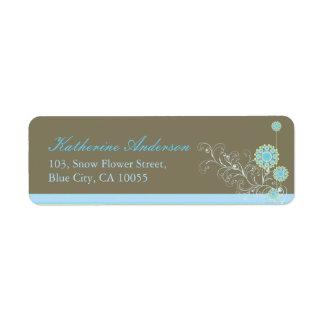 Etiqueta A neve azul floresce os redemoinhos que Wedding