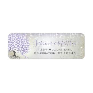 Etiqueta A orquídea cora endereço do remetente do Lilac da