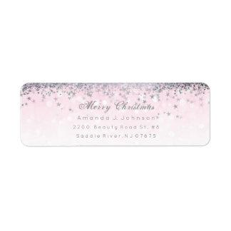 Etiqueta A prata cor-de-rosa do Feliz Natal Stars confetes