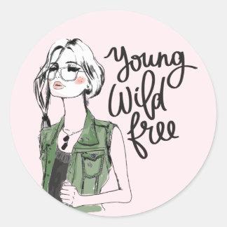 """Etiqueta adolescente """"livre"""" selvagem nova da moda"""