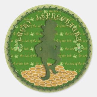 Etiqueta afortunada do Leprechaun Adesivo Em Formato Redondo