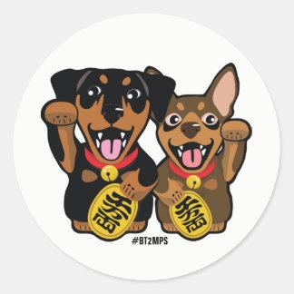 Etiqueta afortunada dos cães do Pin do minuto dos