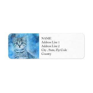 Etiqueta Aguarela azul do abstrato | do gatinho | do gato