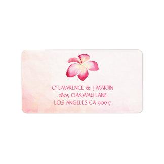 Etiqueta Aguarela cor-de-rosa do por do sol do Plumeria