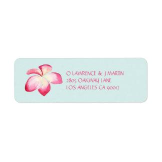 Etiqueta Aguarela cor-de-rosa tropical do Plumeria