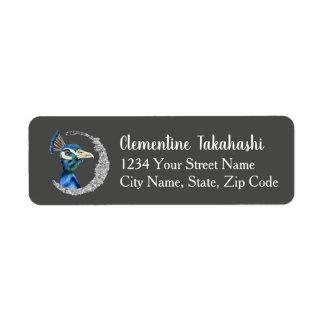 Etiqueta Aguarela do pavão com brilho da prata do falso